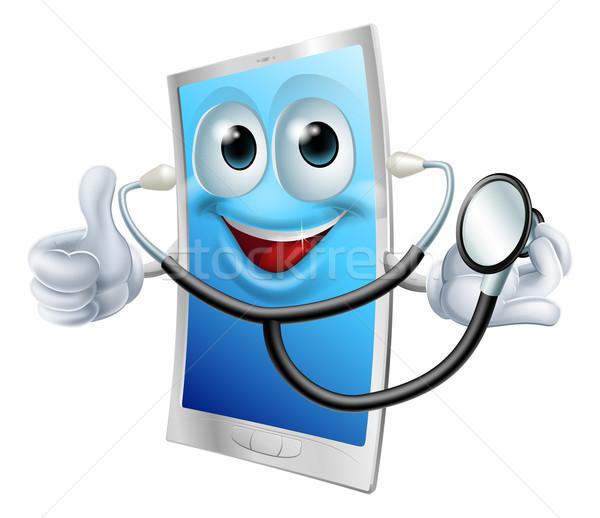 Stethoscope Cartoon Phone Mascot Stock photo © Krisdog