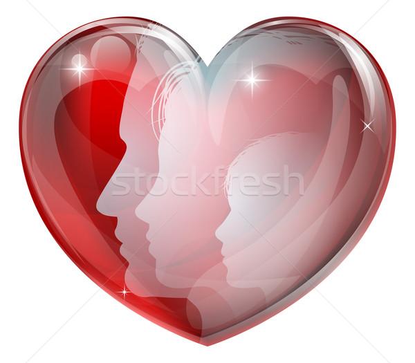 Foto stock: Família · faces · coração · silhuetas · homem · mulher