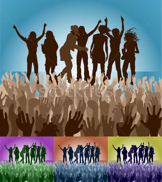 group of female friends on stage Stock photo © Krisdog