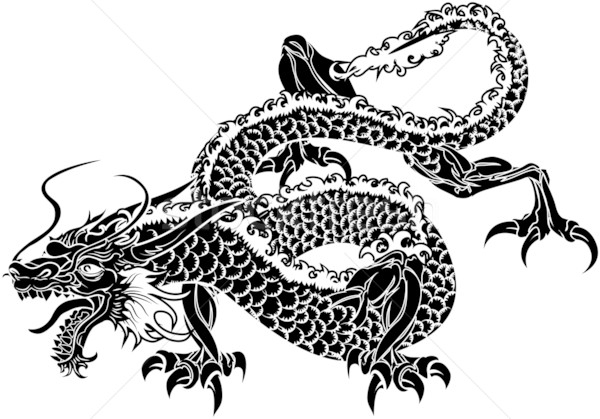 Illustration japonais dragon noir blanche animaux Photo stock © Krisdog