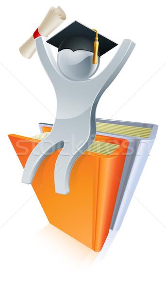 Graduate books silver person Stock photo © Krisdog