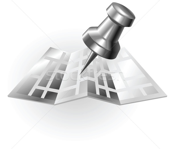 ストックフォト: 銀 · メタリック · 地図 · ピン · 実例 · タック