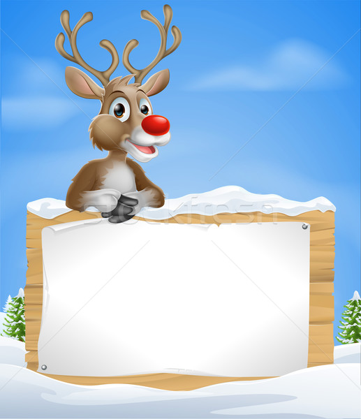 Stock photo: Cartoon Christmas Reindeer Sign
