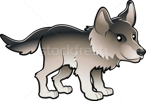 Cute Wolf Vector Illustration Stock photo © Krisdog