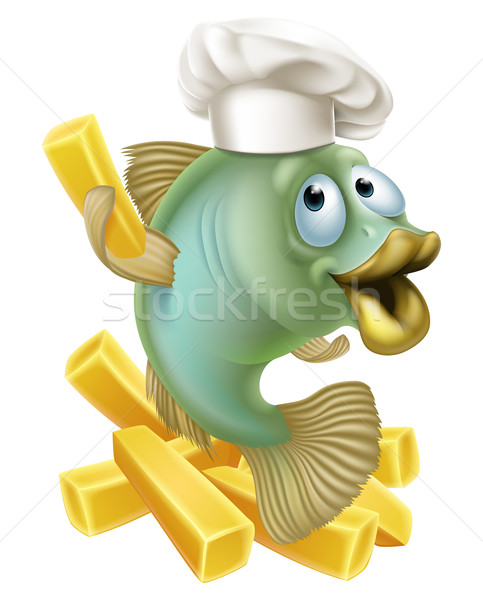 Photo stock: Poissons · puces · chef · illustration · cartoon · personnage