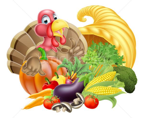 Ação de graças desenho animado Turquia pássaro cornucópia completo Foto stock © Krisdog