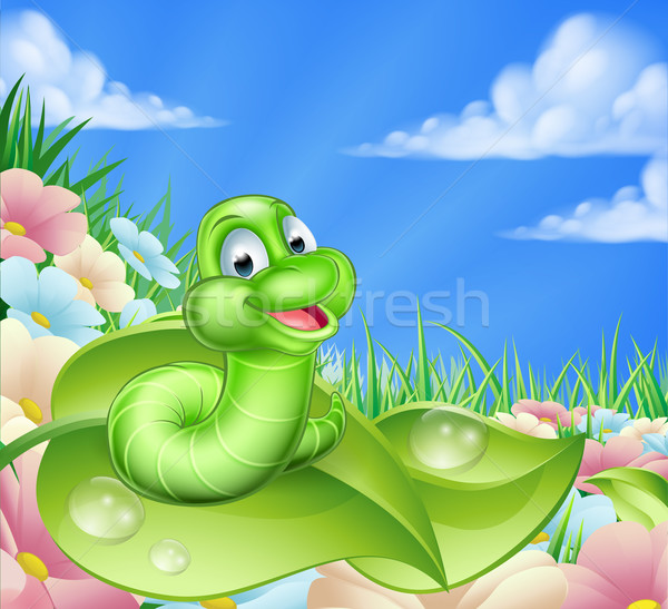 Cartoon Caterpillar in Meadow Stock photo © Krisdog