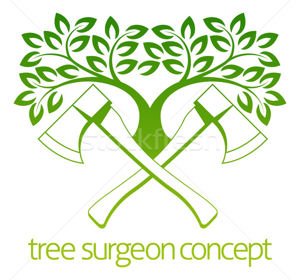 Tree Surgeon Axes and Tree Design Stock photo © Krisdog