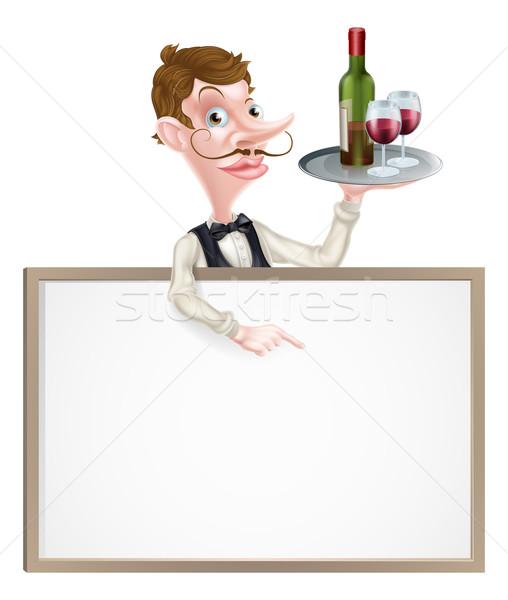 Bor pincér felirat rajz tart borosüveg Stock fotó © Krisdog