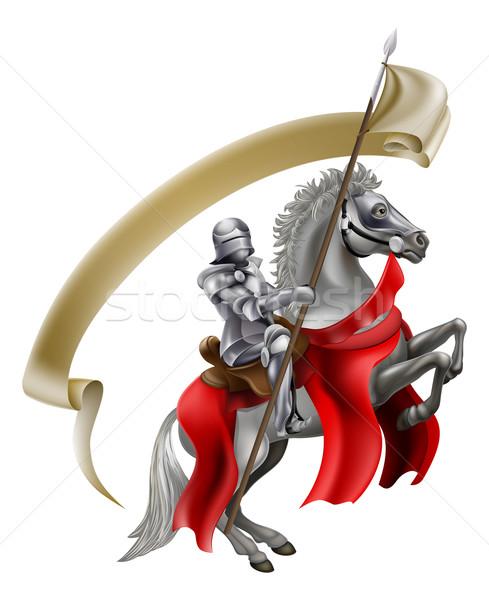 Médiévale lance chevalier cheval armure Retour Photo stock © Krisdog