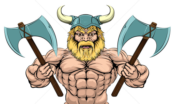 Viking Warrior With Axes Stock photo © Krisdog