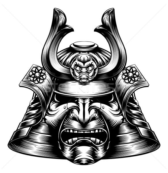 Samurai Mask Woodcut Style Stock photo © Krisdog