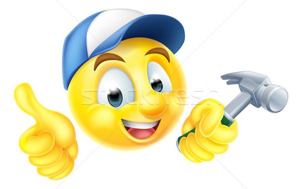 Carpenter Emoji Emoticon with Hammer Stock photo © Krisdog