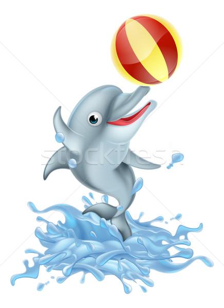 Cartoon Splashing Dolphin Playing with Ball Stock photo © Krisdog