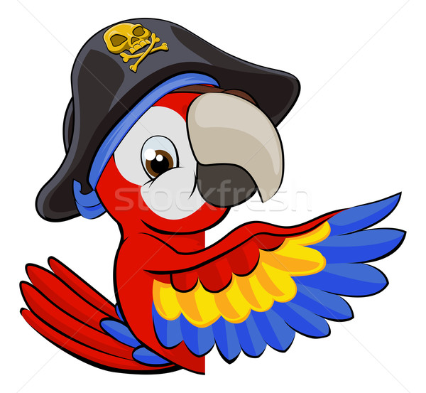 Cartoon Parrot in Pirate Hat Stock photo © Krisdog