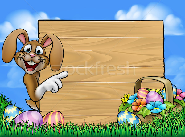 Easter Bunny teken cartoon konijn rond Stockfoto © Krisdog