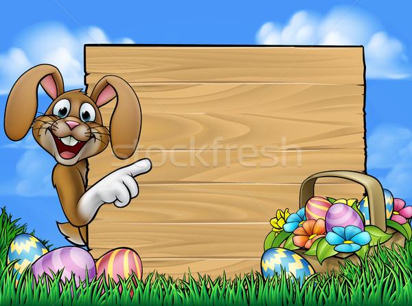 Conejo de Pascua signo Cartoon conejo alrededor Foto stock © Krisdog