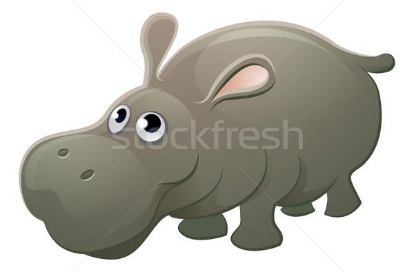 Stock photo: Hippo Animal Cartoon Character