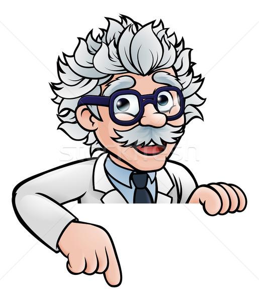 ученого указывая вниз Cartoon профессор Сток-фото © Krisdog