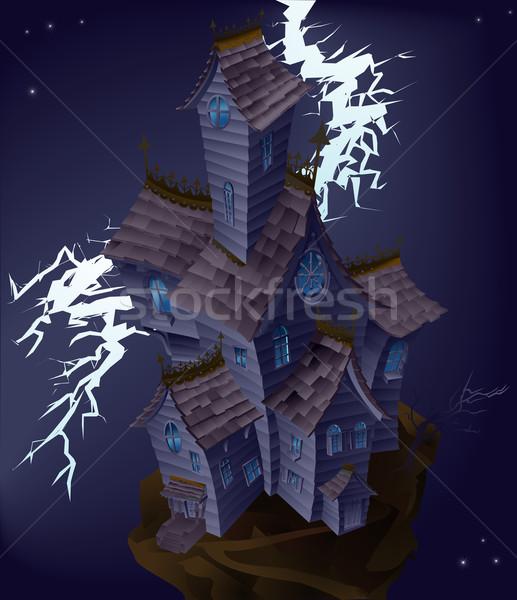 Illusztráció kisértetjárta ház villám kastély Stock fotó © Krisdog