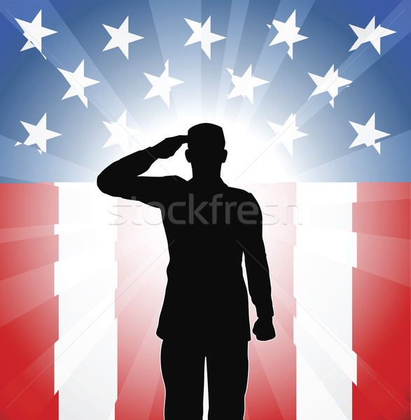 Patriotic soldier salute Stock photo © Krisdog