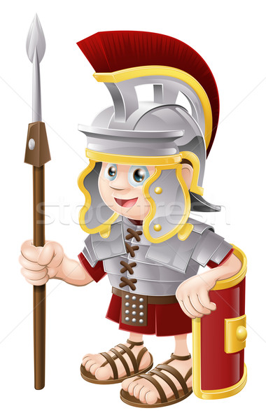 Cartoon romaine soldat illustration cute heureux Photo stock © Krisdog