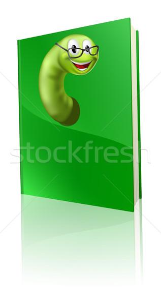 книжный червь иллюстрация Cartoon книга улыбаясь улыбка Сток-фото © Krisdog