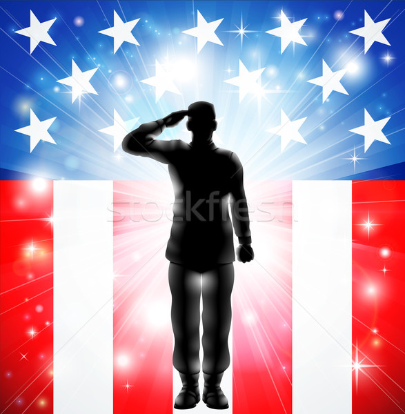 US flag military armed forces soldier silhouette saluting Stock photo © Krisdog