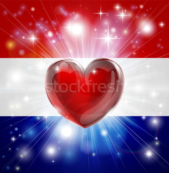Love Netherlands flag heart background Stock photo © Krisdog