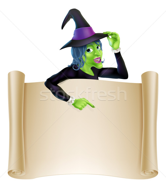 Halloween Witch Scroll Stock photo © Krisdog
