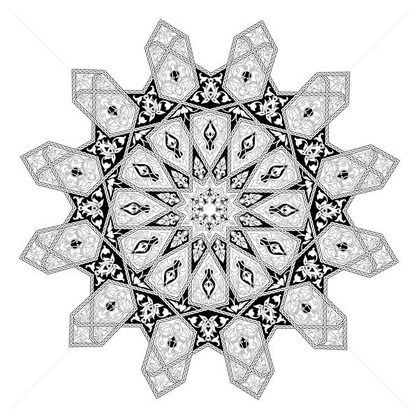 Floral Muster Motiv schwarz weiß arabisch Stock foto © Krisdog