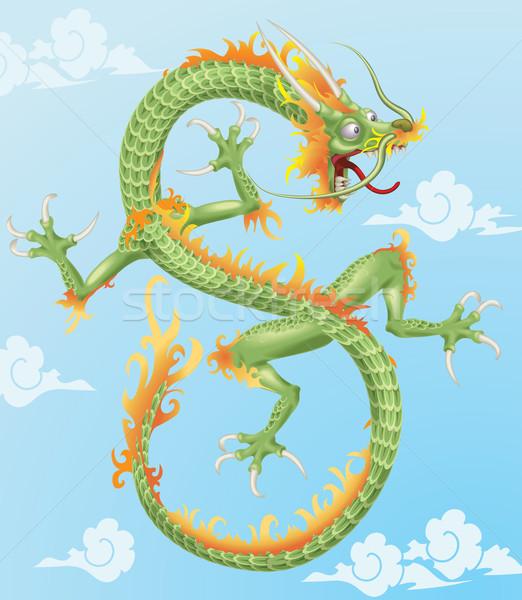 Foto stock: Dragão · chinês · ilustração · estilo · dragão · nuvem