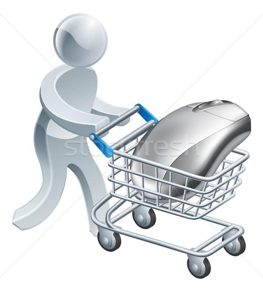 Man pushing computer mouse in trolley Stock photo © Krisdog