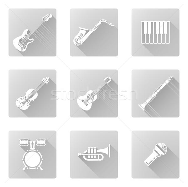 музыкальный инструмент иконки музыку саксофон трубы многие Сток-фото © Krisdog