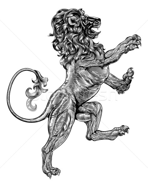 Stock photo: Woodblock style heraldic lion