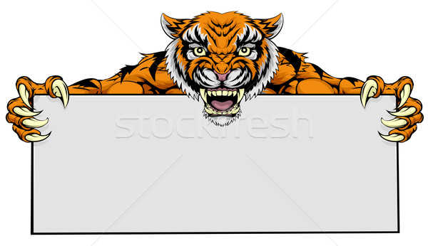 Stock photo: Tiger mascot sign