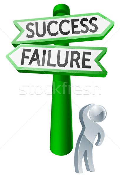 éxito fracaso hombre opciones signo Foto stock © Krisdog