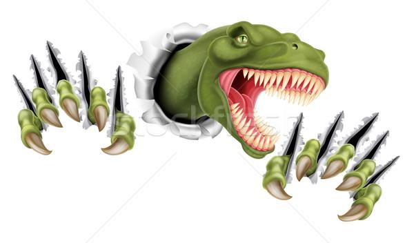 Dinosaurus uit papier handen achtergrond metaal Stockfoto © Krisdog