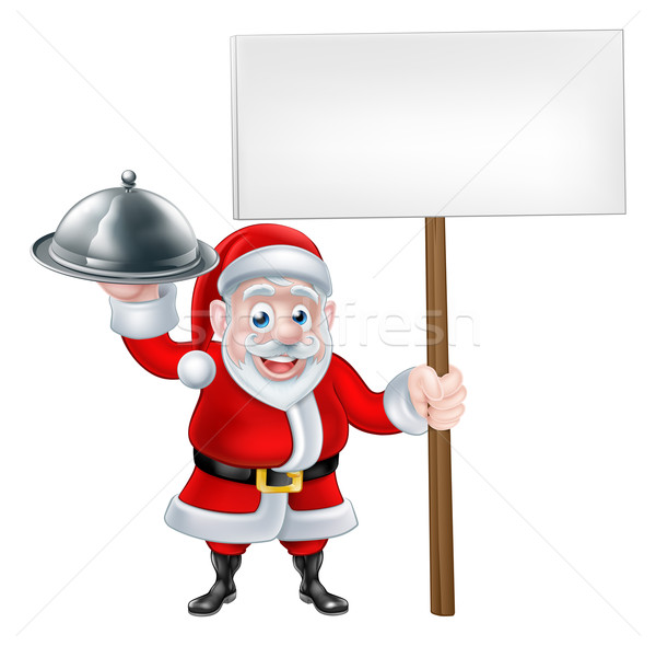 Santa Chef Holding Christmas Dinner Stock photo © Krisdog
