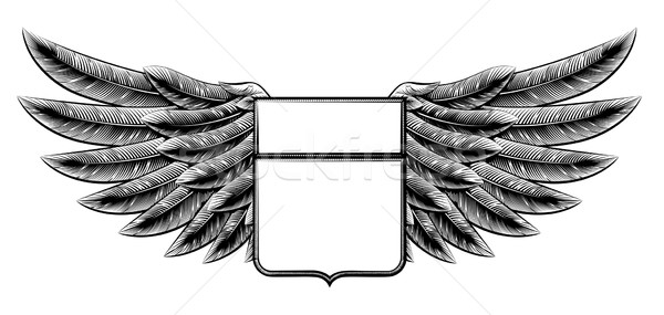 Vintage woodcut winged shield Stock photo © Krisdog