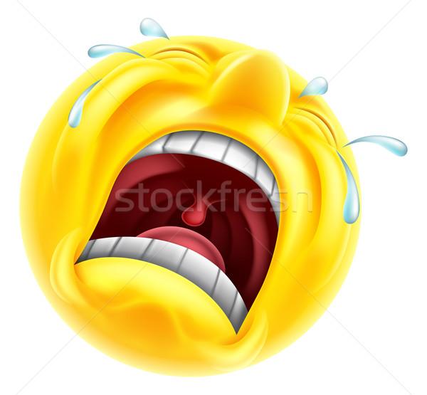 Triste alterar emoticon llorando cara sonriente carácter Foto stock © Krisdog