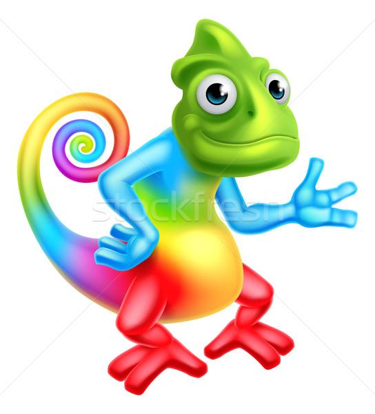 Cartoon tęczy Chameleon jaszczurka charakter maskotka Zdjęcia stock © Krisdog