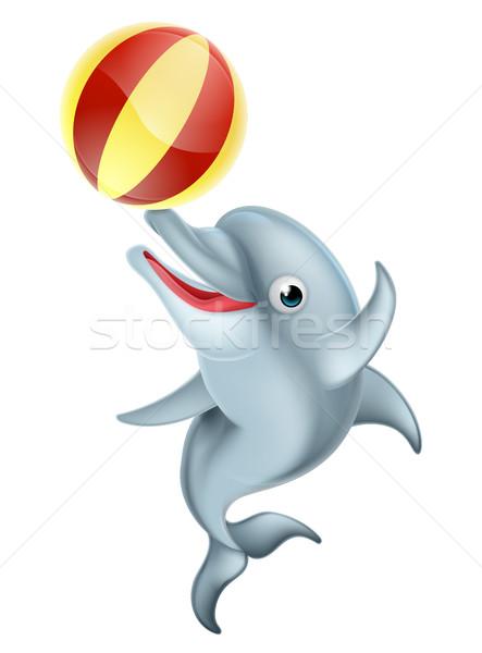 Cartoon дельфин играет мяча счастливым надувной Сток-фото © Krisdog