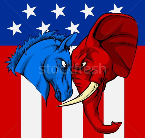 Amerikaanse verkiezing ezel olifant politiek partij Stockfoto © Krisdog