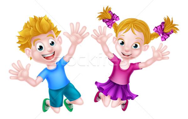 Foto stock: Feliz · desenho · animado · menino · menina · saltando