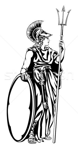 Grego deusa guerreiro ilustração mitológico lança Foto stock © Krisdog