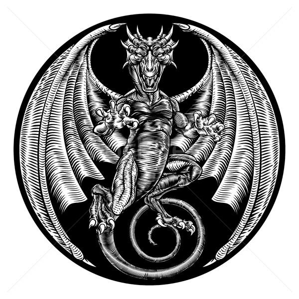Dragon design retro vintage illustrazione inciso Foto d'archivio © Krisdog