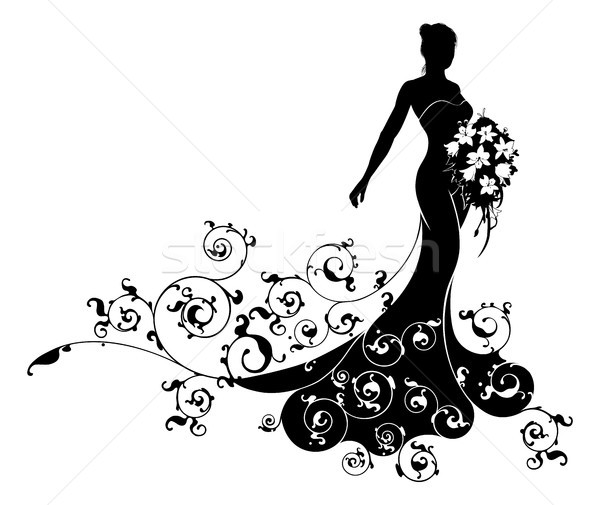 Bride Bouquet Wedding Silhouette Abstract Stock photo © Krisdog