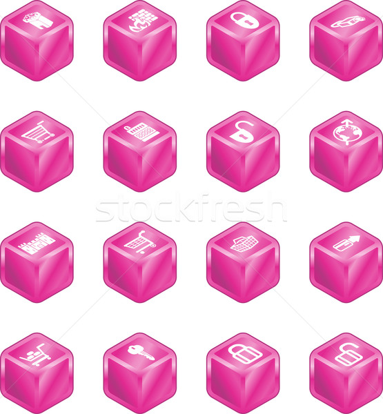 Security and E-Commerce Cube Icon Set Series Stock photo © Krisdog