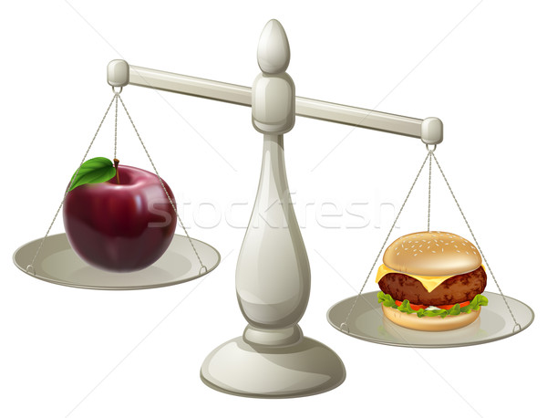 Egészséges étkezés akaraterő alma hamburger mérleg harisnya Stock fotó © Krisdog
